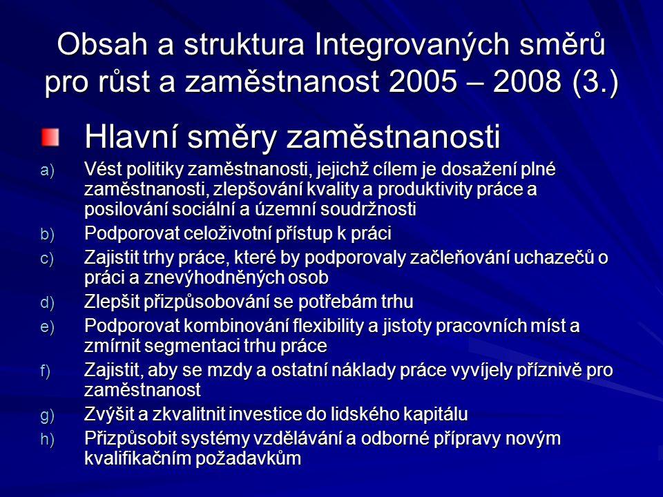 Obsah a struktura Integrovaných směrů pro růst a zaměstnanost 2005 – 2008 (3.) Hlavní směry zaměstnanosti a) Vést politiky zaměstnanosti, jejichž cíle