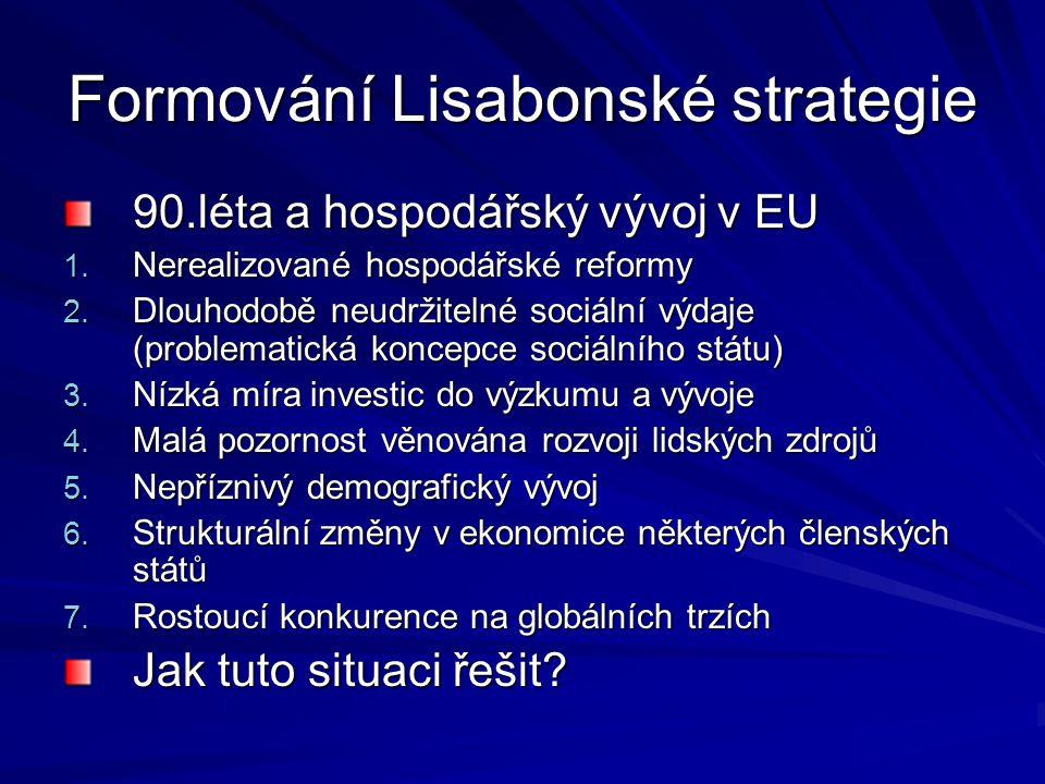 Formování Lisabonské strategie 90.léta a hospodářský vývoj v EU 1. Nerealizované hospodářské reformy 2. Dlouhodobě neudržitelné sociální výdaje (probl