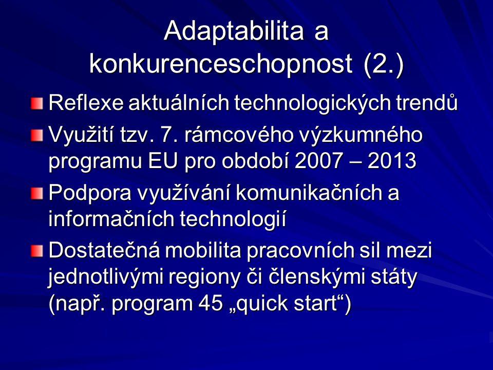 Adaptabilita a konkurenceschopnost (2.) Reflexe aktuálních technologických trendů Využití tzv. 7. rámcového výzkumného programu EU pro období 2007 – 2