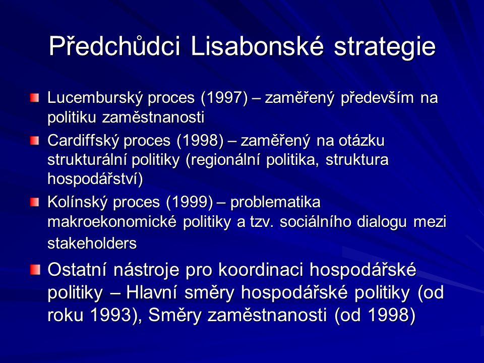 Předchůdci Lisabonské strategie Lucemburský proces (1997) – zaměřený především na politiku zaměstnanosti Cardiffský proces (1998) – zaměřený na otázku