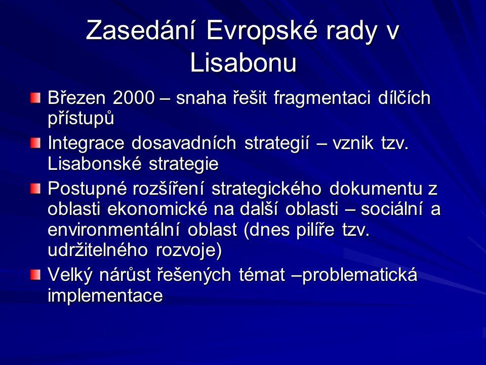 Zasedání Evropské rady v Lisabonu Březen 2000 – snaha řešit fragmentaci dílčích přístupů Integrace dosavadních strategií – vznik tzv. Lisabonské strat