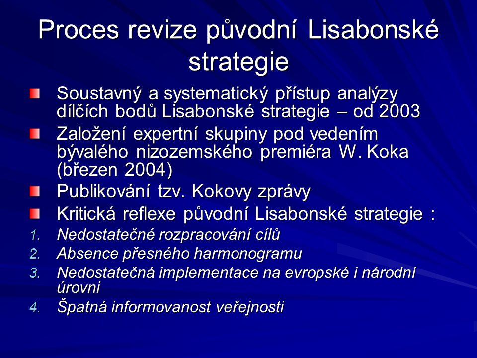 Proces revize původní Lisabonské strategie Soustavný a systematický přístup analýzy dílčích bodů Lisabonské strategie – od 2003 Založení expertní skup