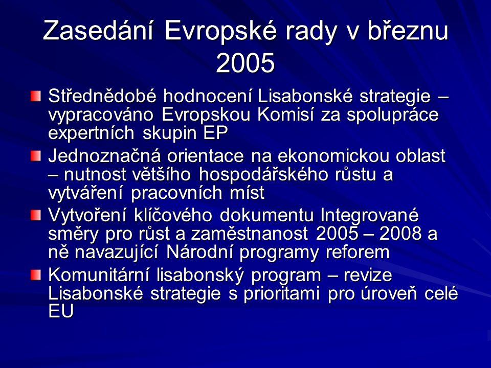 Zasedání Evropské rady v březnu 2005 Střednědobé hodnocení Lisabonské strategie – vypracováno Evropskou Komisí za spolupráce expertních skupin EP Jedn