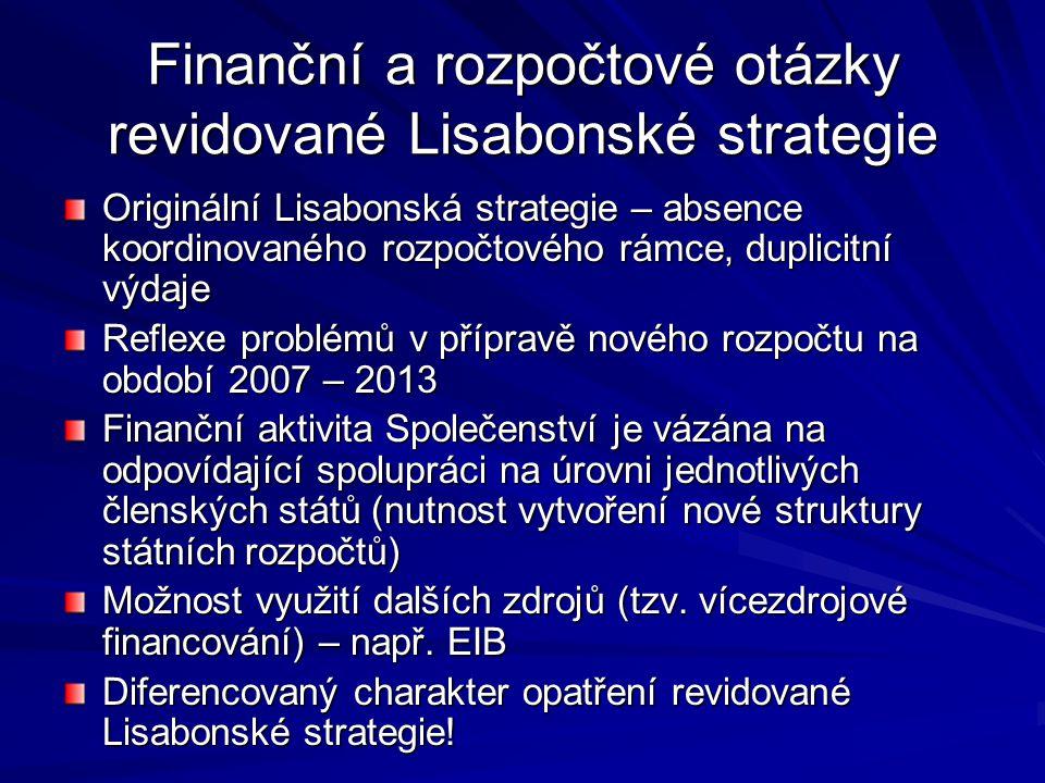 Finanční a rozpočtové otázky revidované Lisabonské strategie Originální Lisabonská strategie – absence koordinovaného rozpočtového rámce, duplicitní v