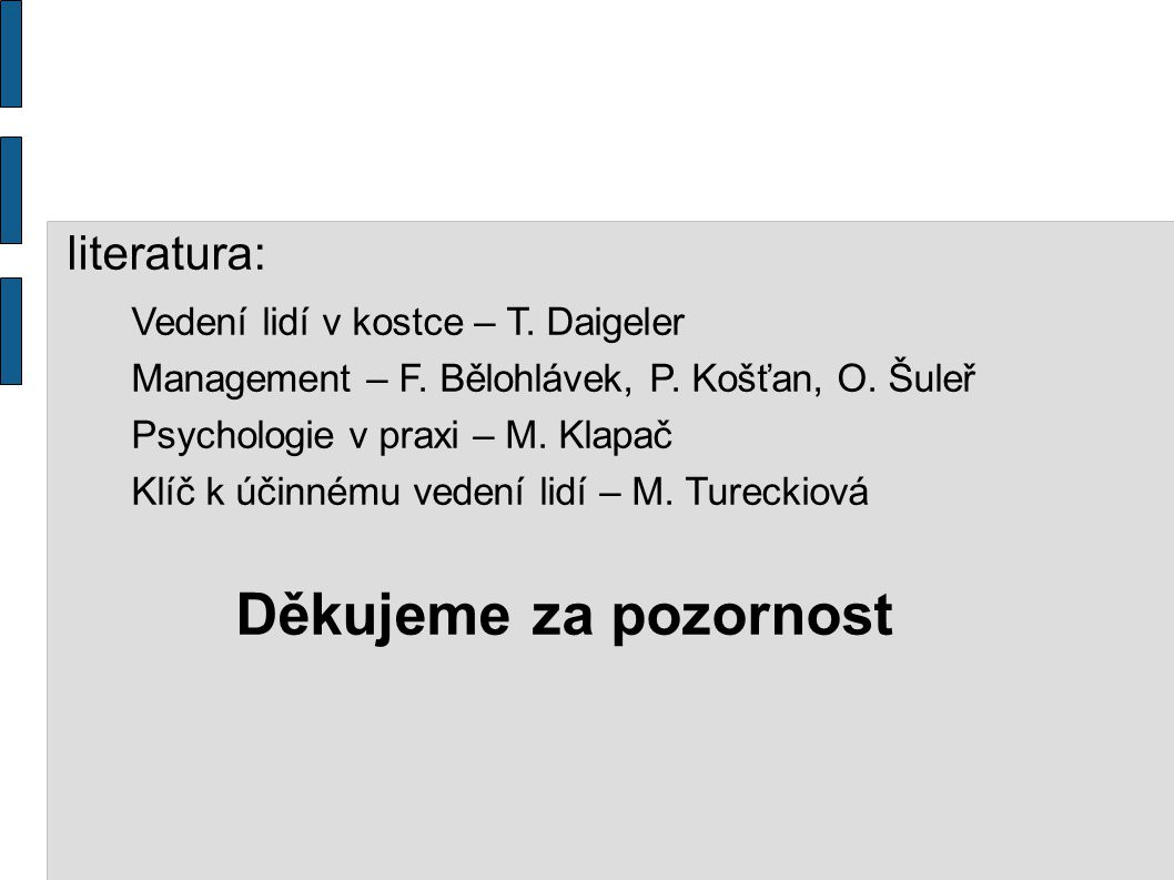 literatura: Vedení lidí v kostce – T. Daigeler Management – F. Bělohlávek, P. Košťan, O. Šuleř Psychologie v praxi – M. Klapač Klíč k účinnému vedení
