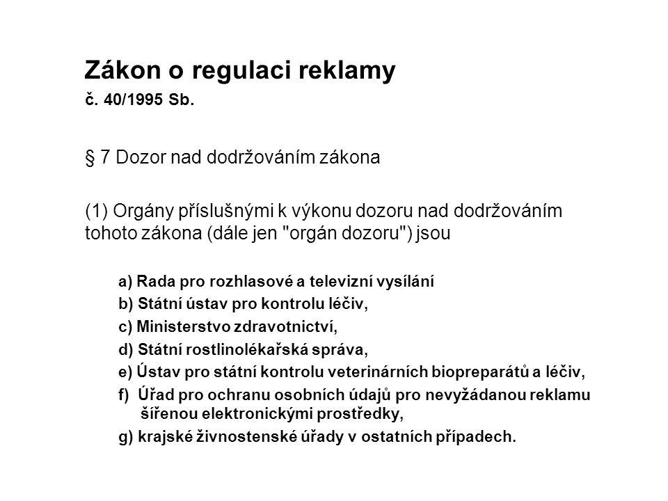 Zákon o regulaci reklamy č.40/1995 Sb.
