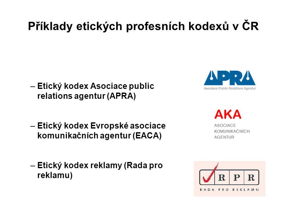 – Etický kodex Asociace public relations agentur (APRA) – Etický kodex Evropské asociace komunikačních agentur (EACA) – Etický kodex reklamy (Rada pro reklamu) Příklady etických profesních kodexů v ČR