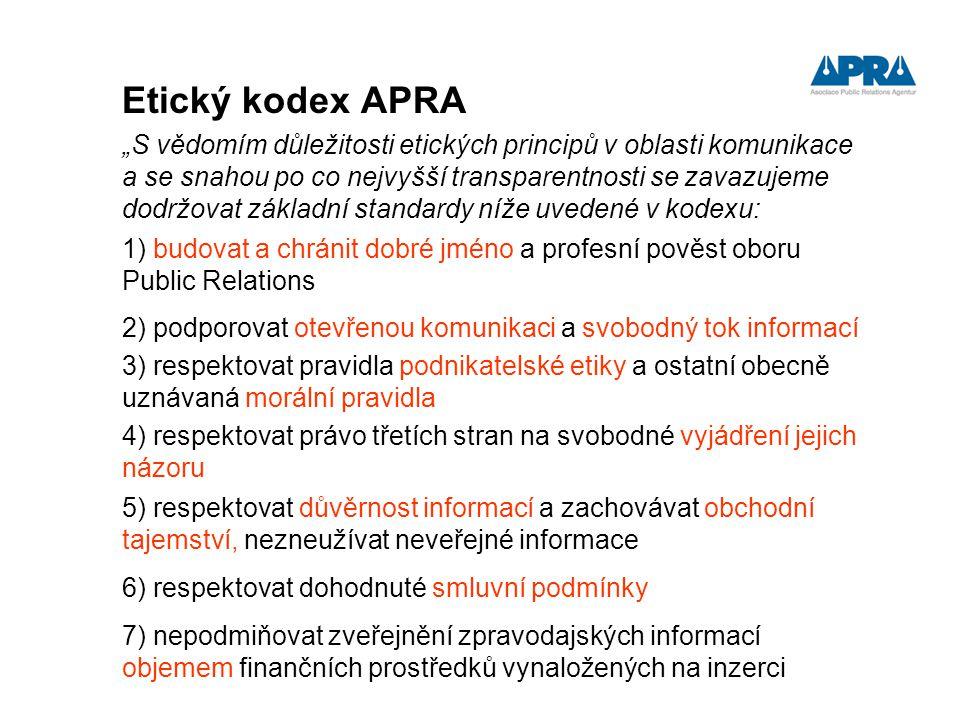"""Etický kodex APRA """"S vědomím důležitosti etických principů v oblasti komunikace a se snahou po co nejvyšší transparentnosti se zavazujeme dodržovat zá"""
