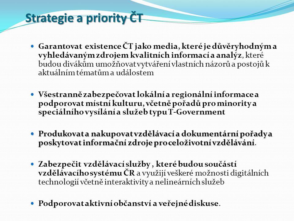 Strategie a priority ČT Garantovat existence ČT jako media, které je důvěryhodným a vyhledávaným zdrojem kvalitních informací a analýz, které budou divákům umožňovat vytváření vlastních názorů a postojů k aktuálním tématům a událostem Všestranně zabezpečovat lokální a regionální informace a podporovat místní kulturu, včetně pořadů pro minority a speciálního vysílání a služeb typu T-Government Produkovat a nakupovat vzdělávací a dokumentární pořady a poskytovat informační zdroje pro celoživotní vzdělávání Produkovat a nakupovat vzdělávací a dokumentární pořady a poskytovat informační zdroje pro celoživotní vzdělávání.