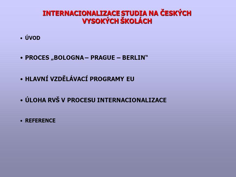 """INTERNACIONALIZACE STUDIA NA ČESKÝCH VYSOKÝCH ŠKOLÁCH ÚVOD PROCES """"BOLOGNA – PRAGUE – BERLIN HLAVNÍ VZDĚLÁVACÍ PROGRAMY EU ÚLOHA RVŠ V PROCESU INTERNACIONALIZACE REFERENCE"""