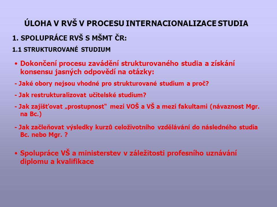 ÚLOHA V RVŠ V PROCESU INTERNACIONALIZACE STUDIA 1. SPOLUPRÁCE RVŠ S MŠMT ČR: 1.1 STRUKTUROVANÉ STUDIUM Dokončení procesu zavádění strukturovaného stud