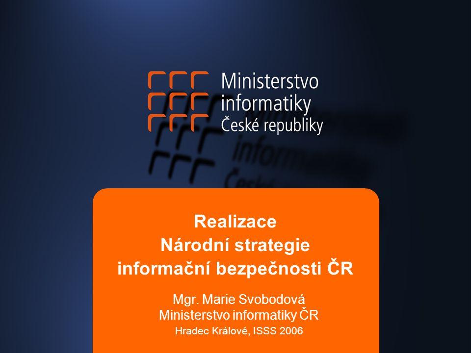 Realizace Národní strategie informační bezpečnosti ČR Mgr. Marie Svobodová Ministerstvo informatiky ČR Hradec Králové, ISSS 2006