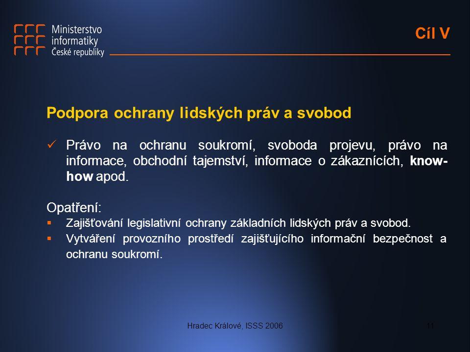 Hradec Králové, ISSS 200611 Cíl V Podpora ochrany lidských práv a svobod Právo na ochranu soukromí, svoboda projevu, právo na informace, obchodní taje
