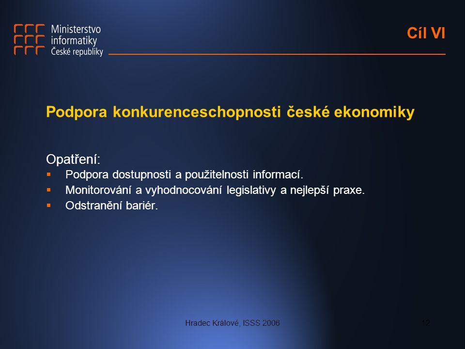 Hradec Králové, ISSS 200612 Cíl VI Podpora konkurenceschopnosti české ekonomiky Opatření:  Podpora dostupnosti a použitelnosti informací.  Monitorov