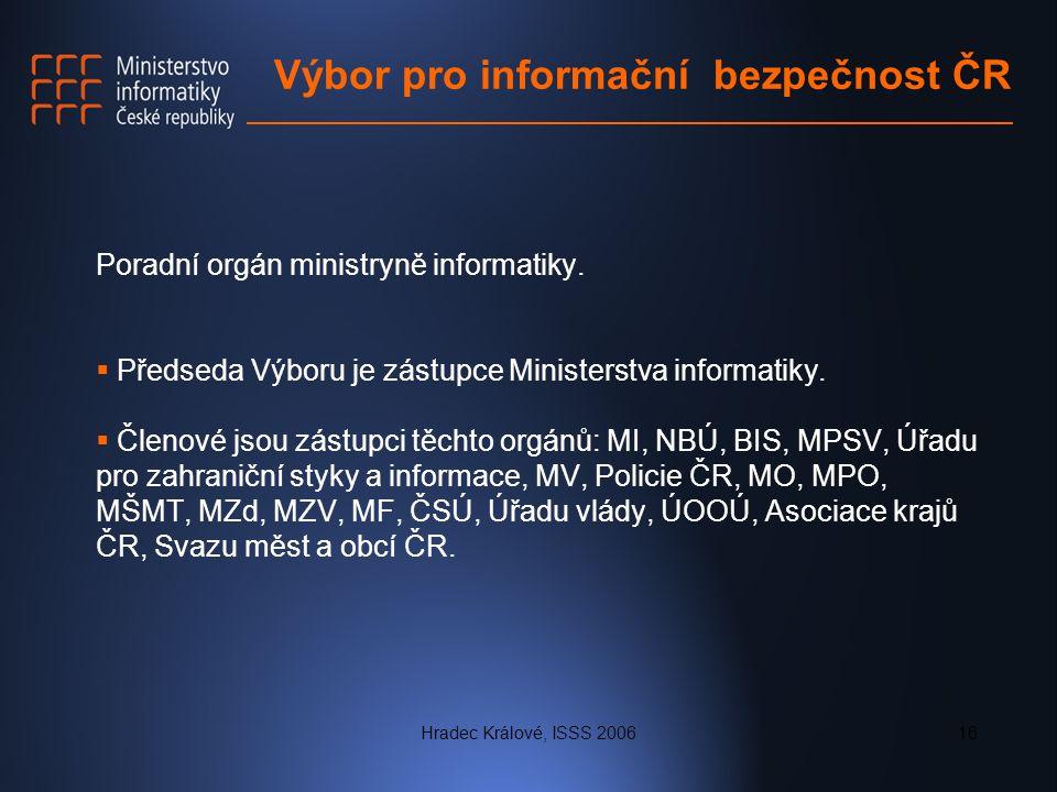 Hradec Králové, ISSS 200616 Výbor pro informační bezpečnost ČR Poradní orgán ministryně informatiky.  Předseda Výboru je zástupce Ministerstva inform