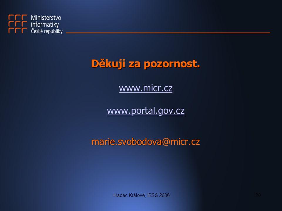 Hradec Králové, ISSS 200620 Děkuji za pozornost. marie.svobodova Děkuji za pozornost. www.micr.cz www.portal.gov.cz marie.svobodova@micr.cz www.micr.c