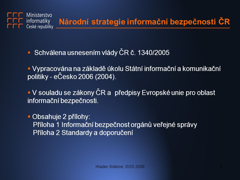 Hradec Králové, ISSS 20063 Národní strategie informační bezpečnosti ČR  Schválena usnesením vlády ČR č. 1340/2005  Vypracována na základě úkolu Stát