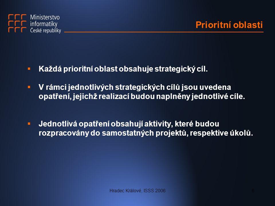 Hradec Králové, ISSS 20066 Prioritní oblasti  Každá prioritní oblast obsahuje strategický cíl.  V rámci jednotlivých strategických cílů jsou uvedena