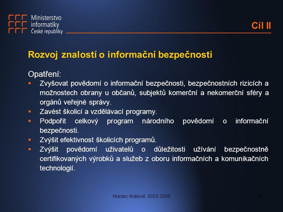 Hradec Králové, ISSS 20068 Cíl II Rozvoj znalostí o informační bezpečnosti Opatření:  Zvyšovat povědomí o informační bezpečnosti, bezpečnostních rizi