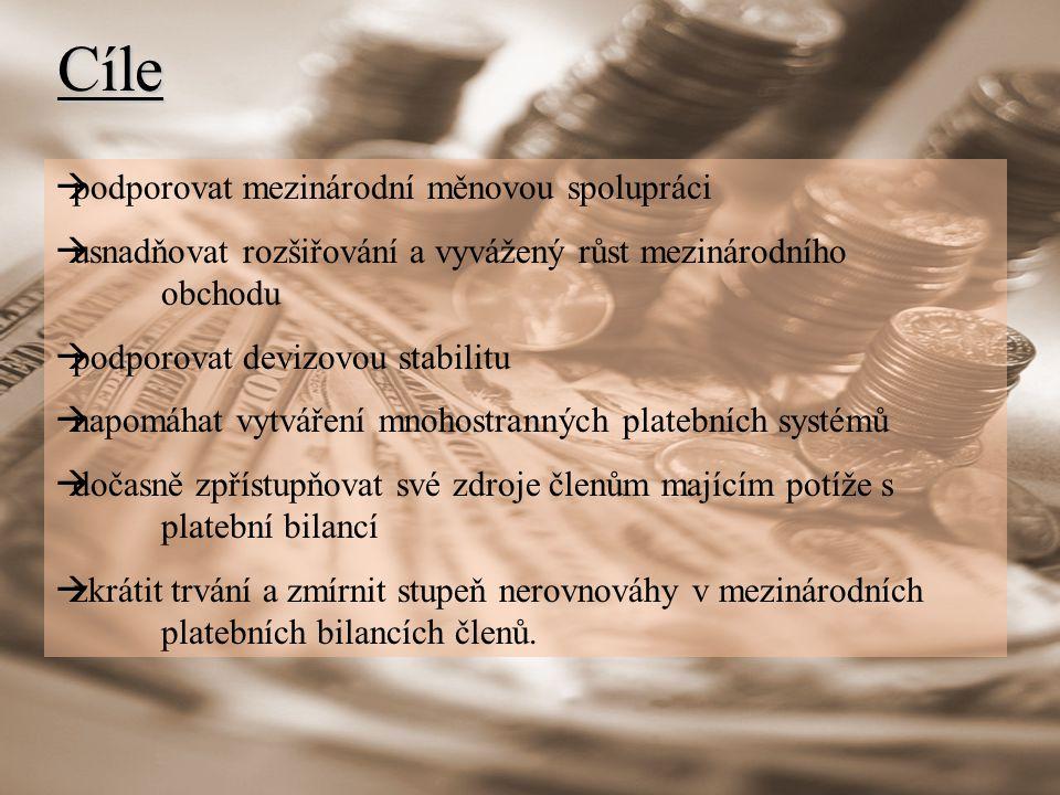 Cíle  podporovat mezinárodní měnovou spolupráci  usnadňovat rozšiřování a vyvážený růst mezinárodního obchodu  podporovat devizovou stabilitu  napomáhat vytváření mnohostranných platebních systémů  dočasně zpřístupňovat své zdroje členům majícím potíže s platební bilancí  zkrátit trvání a zmírnit stupeň nerovnováhy v mezinárodních platebních bilancích členů.