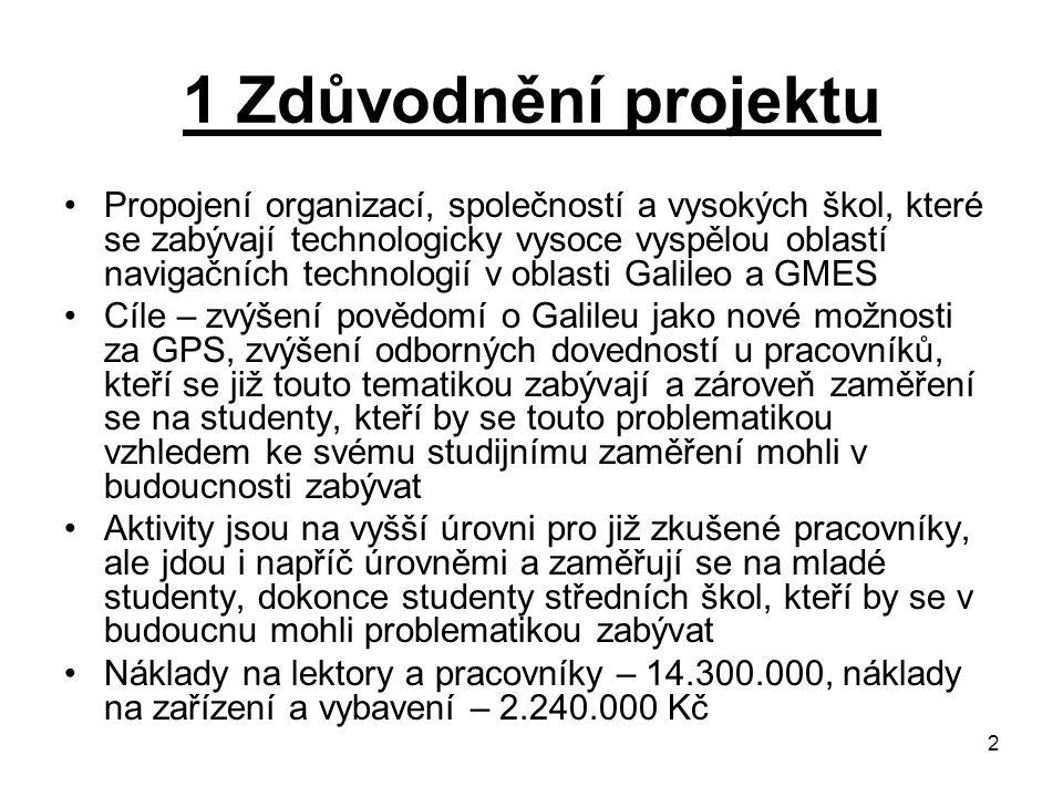 2 1 Zdůvodnění projektu Propojení organizací, společností a vysokých škol, které se zabývají technologicky vysoce vyspělou oblastí navigačních technologií v oblasti Galileo a GMES Cíle – zvýšení povědomí o Galileu jako nové možnosti za GPS, zvýšení odborných dovedností u pracovníků, kteří se již touto tematikou zabývají a zároveň zaměření se na studenty, kteří by se touto problematikou vzhledem ke svému studijnímu zaměření mohli v budoucnosti zabývat Aktivity jsou na vyšší úrovni pro již zkušené pracovníky, ale jdou i napříč úrovněmi a zaměřují se na mladé studenty, dokonce studenty středních škol, kteří by se v budoucnu mohli problematikou zabývat Náklady na lektory a pracovníky – 14.300.000, náklady na zařízení a vybavení – 2.240.000 Kč