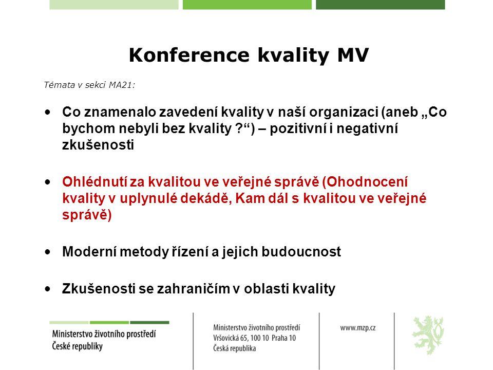 """Konference kvality MV Témata v sekci MA21: Co znamenalo zavedení kvality v naší organizaci (aneb """"Co bychom nebyli bez kvality ? ) – pozitivní i negativní zkušenosti Ohlédnutí za kvalitou ve veřejné správě (Ohodnocení kvality v uplynulé dekádě, Kam dál s kvalitou ve veřejné správě) Moderní metody řízení a jejich budoucnost Zkušenosti se zahraničím v oblasti kvality"""