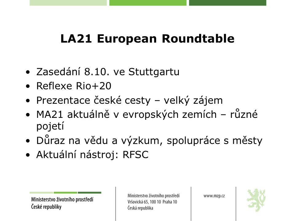 LA21 European Roundtable Zasedání 8.10.