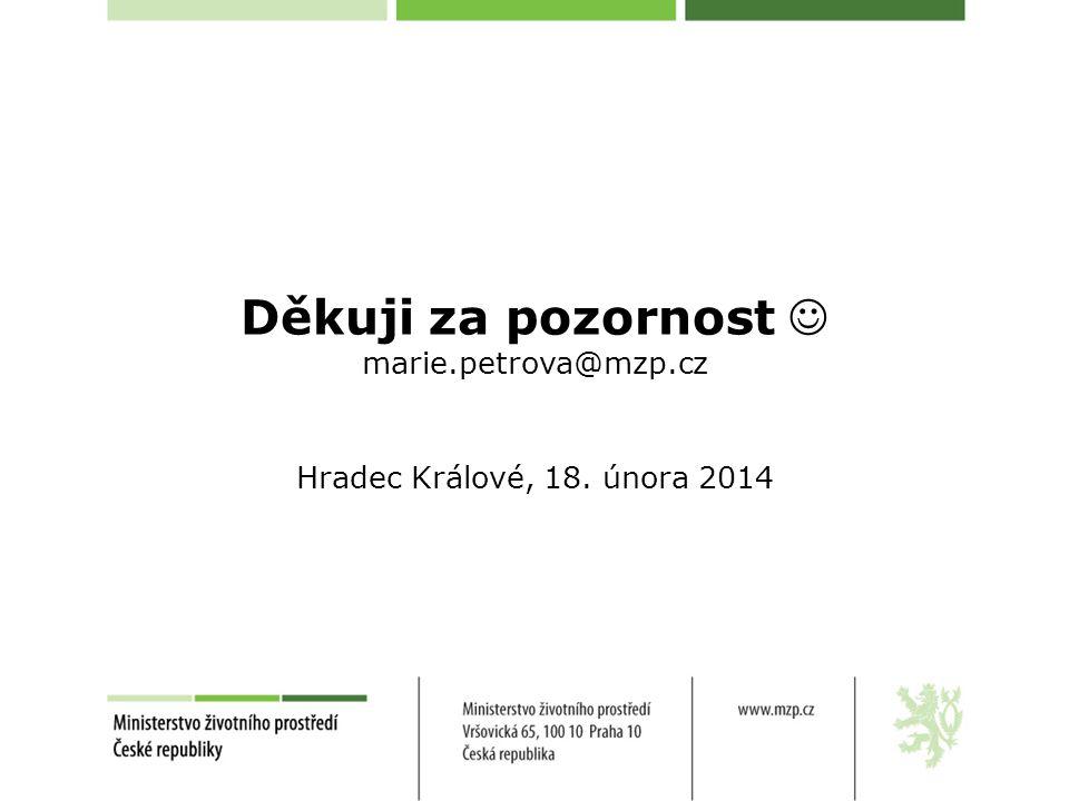 Děkuji za pozornost marie.petrova@mzp.cz Hradec Králové, 18. února 2014