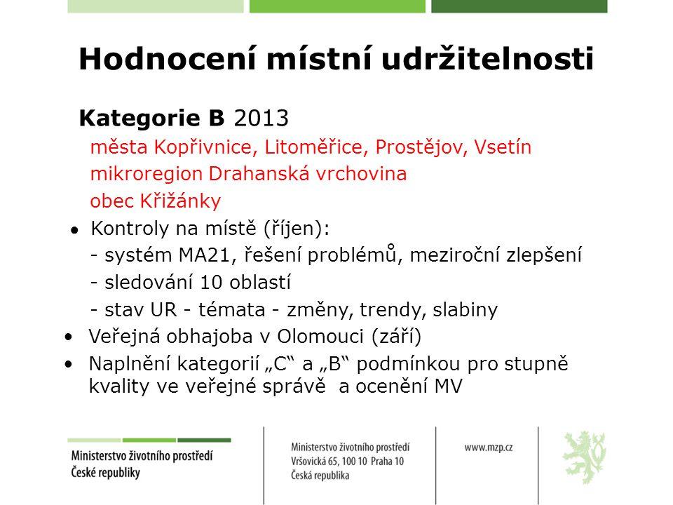 """Hodnocení místní udržitelnosti Kategorie B 2013 města Kopřivnice, Litoměřice, Prostějov, Vsetín mikroregion Drahanská vrchovina obec Křižánky ● Kontroly na místě (říjen): - systém MA21, řešení problémů, meziroční zlepšení - sledování 10 oblastí - stav UR - témata - změny, trendy, slabiny Veřejná obhajoba v Olomouci (září) Naplnění kategorií """"C a """"B podmínkou pro stupně kvality ve veřejné správě a ocenění MV"""