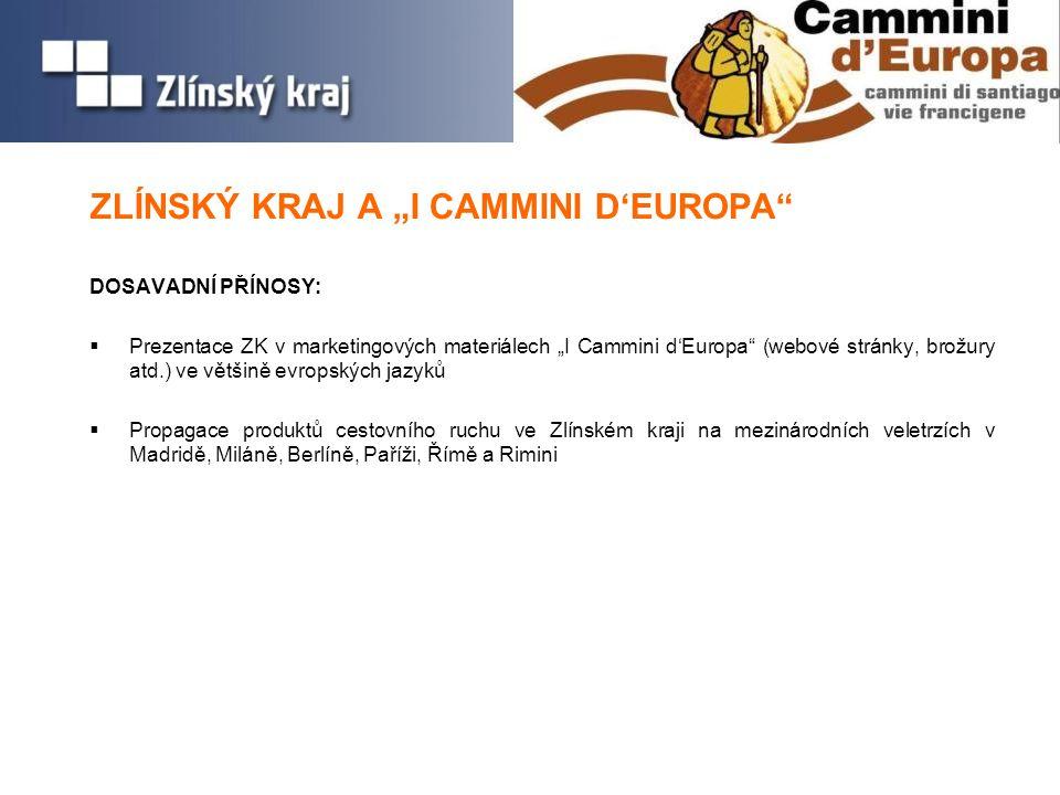 """ZLÍNSKÝ KRAJ A """"I CAMMINI D'EUROPA DOSAVADNÍ PŘÍNOSY:  Prezentace ZK v marketingových materiálech """"I Cammini d'Europa (webové stránky, brožury atd.) ve většině evropských jazyků  Propagace produktů cestovního ruchu ve Zlínském kraji na mezinárodních veletrzích v Madridě, Miláně, Berlíně, Paříži, Římě a Rimini"""