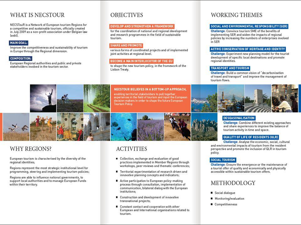ZLÍNSKÝ KRAJ A SÍŤ NECSTOUR PŘÍNOSY PRO ZLÍNSKÝ KRAJ:  Spolupráce s regiony s větší zkušeností s rozvojem cestovního ruchu – významné turistické destinace  Spolupráce s veřejnými a soukromými institucemi (například Evropský institut kulturních cest)  Rozvoj cestovního ruchu – využití modelu sítě NECSTouR udržitelného a konkurenceschopného cestovního ruchu  Získání dobrých praxí a sdílení zkušeností v oblasti cestovního ruchu – databáze NECSTouR  Iniciativy EU – NECSTouR informuje o vyhlášených programech Evropské komise  Efektivní využití fondů EU – konzultace s odborníky projektového řízení  Spolupráce na nadnárodních projektech v oblasti cestovního ruchu  Členství v Řídícím výboru sítě NECSTouR