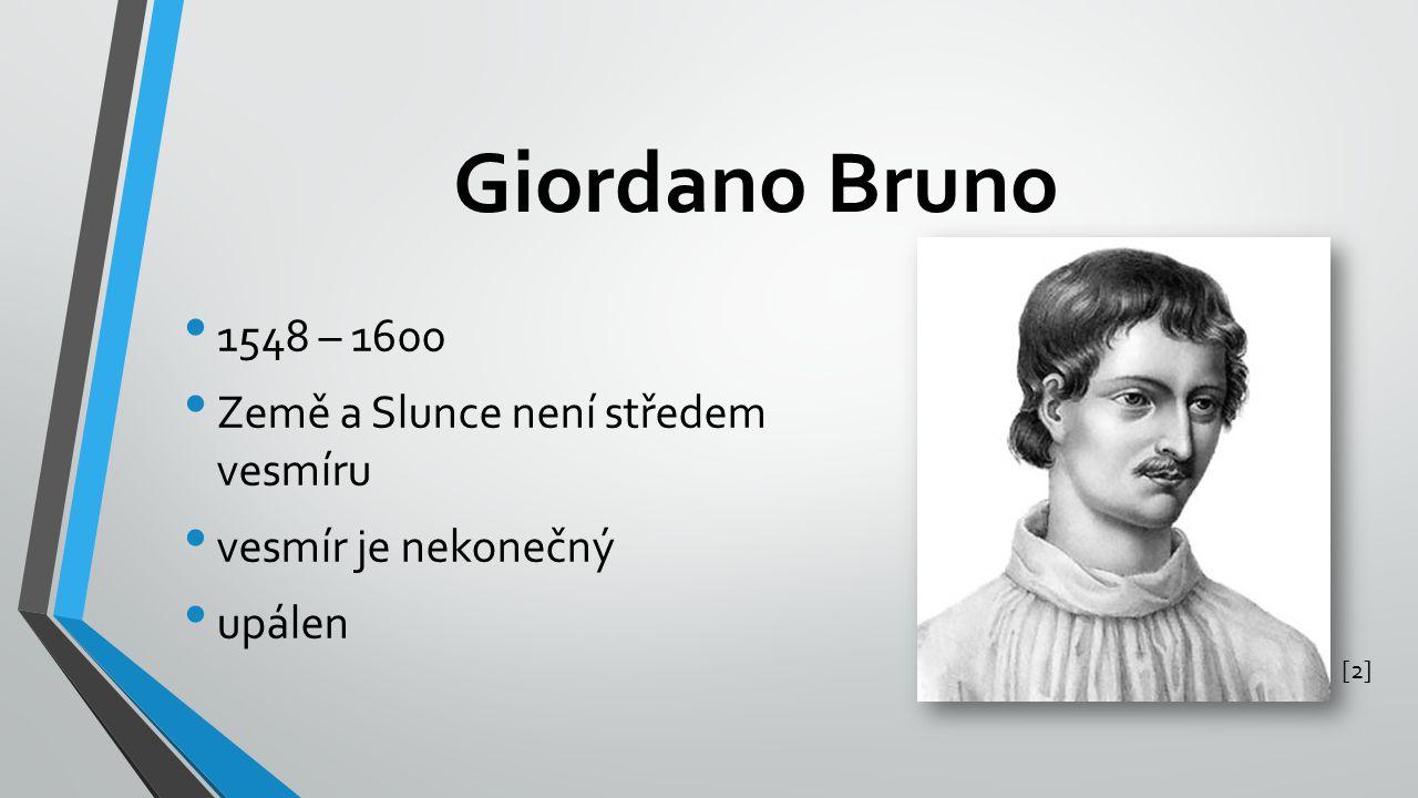 Giordano Bruno 1548 – 1600 Země a Slunce není středem vesmíru vesmír je nekonečný upálen [2][2]