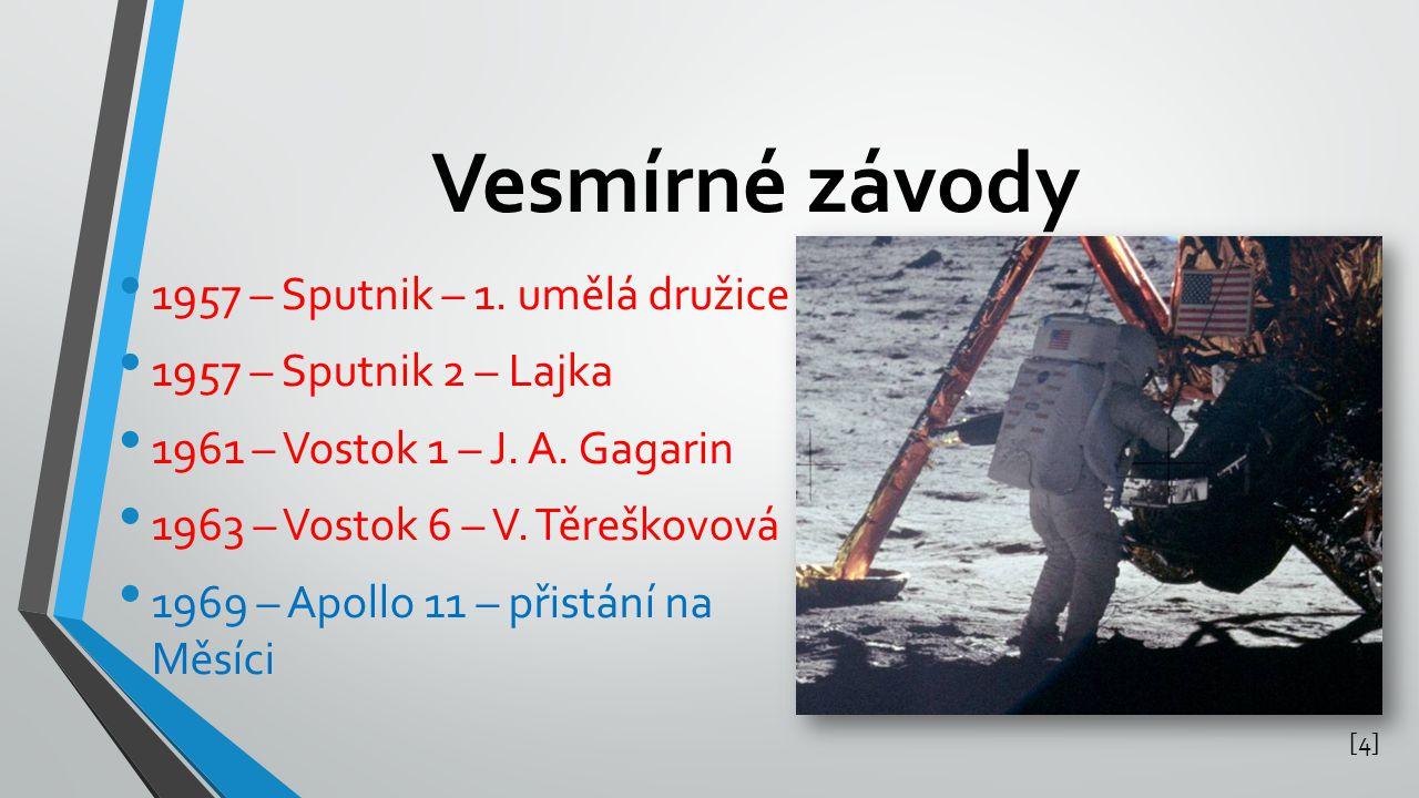 Vesmírné závody 1957 – Sputnik – 1. umělá družice 1957 – Sputnik 2 – Lajka 1961 – Vostok 1 – J. A. Gagarin 1963 – Vostok 6 – V. Těreškovová 1969 – Apo