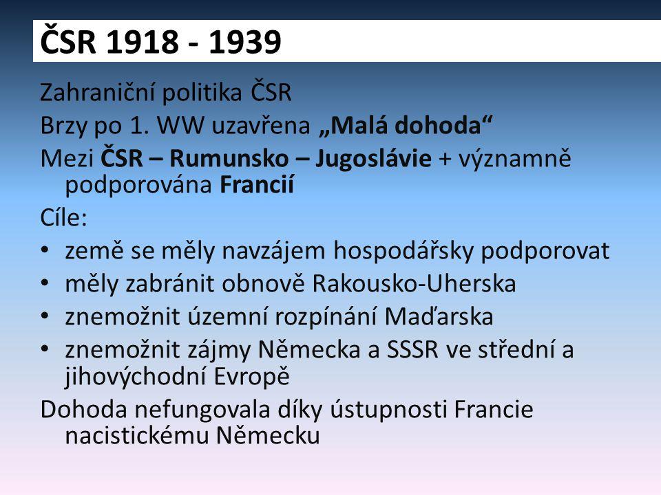 """Zahraniční politika ČSR Brzy po 1. WW uzavřena """"Malá dohoda"""" Mezi ČSR – Rumunsko – Jugoslávie + významně podporována Francií Cíle: země se měly navzáj"""