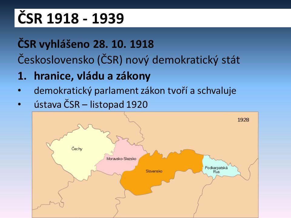 ČSR vyhlášeno 28. 10. 1918 Československo (ČSR) nový demokratický stát 1.hranice, vládu a zákony demokratický parlament zákon tvoří a schvaluje ústava