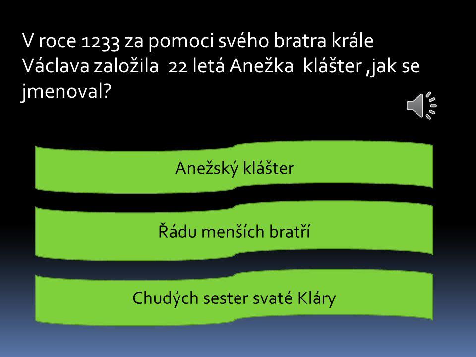 V roce 1233 za pomoci svého bratra krále Václava založila 22 letá Anežka klášter,jak se jmenoval.