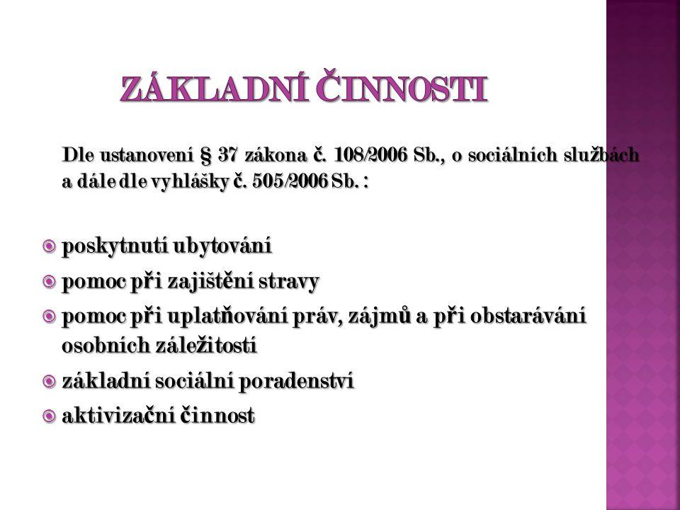 Dle ustanovení § 37 zákona č. 108/2006 Sb., o sociálních slu ž bách a dále dle vyhlášky č.