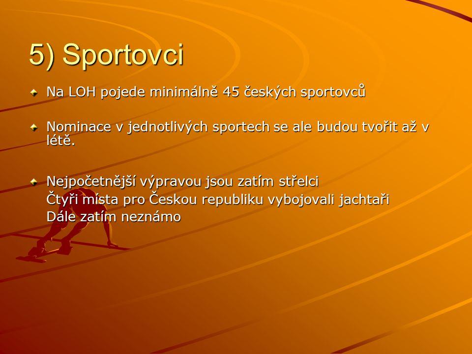 5) Sportovci Na LOH pojede minimálně 45 českých sportovců Nominace v jednotlivých sportech se ale budou tvořit až v létě.