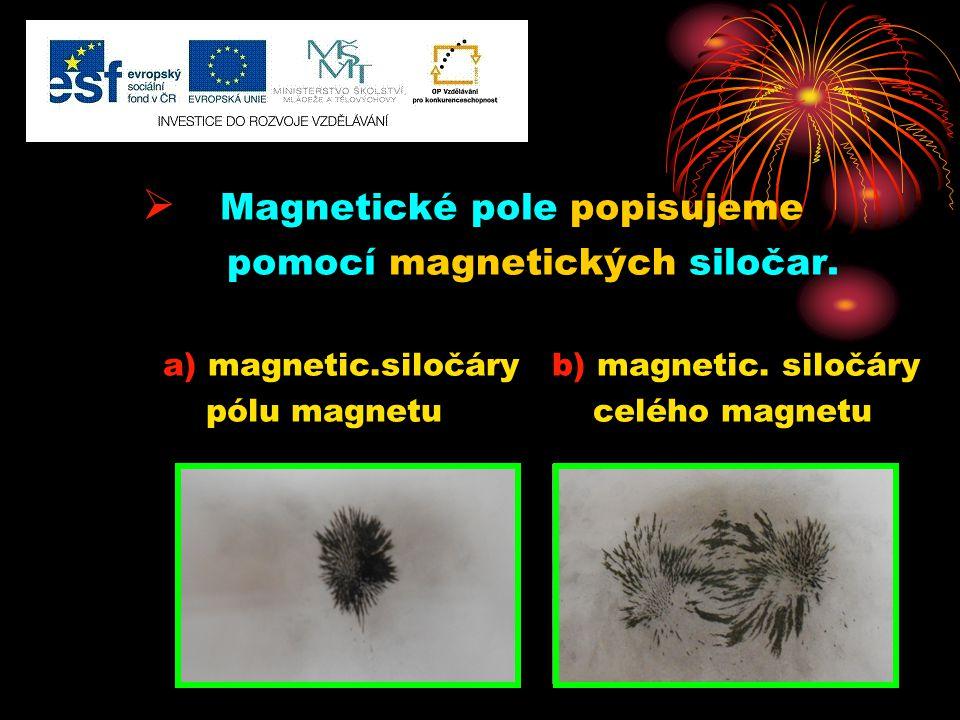  Magnetické pole popisujeme pomocí magnetických siločar. a) magnetic.siločáry b) magnetic. siločáry pólu magnetu celého magnetu