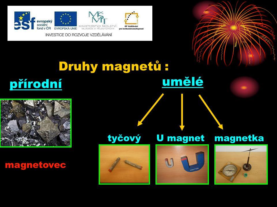 Druhy magnetů : přírodní tyčový U magnet magnetka umělé magnetovec