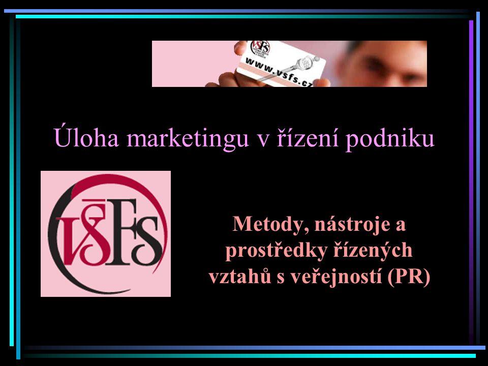 Úloha marketingu v řízení podniku Metody, nástroje a prostředky řízených vztahů s veřejností (PR)