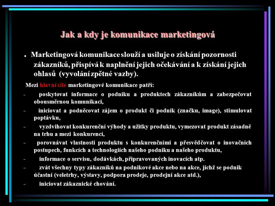 Jak a kdy je komunikace marketingová Aby byla marketingová komunikace podniku skutečně marketingová a hlavně úspěšná a efektivní, je třeba se řídit několika ověřenými pravidly: 1.