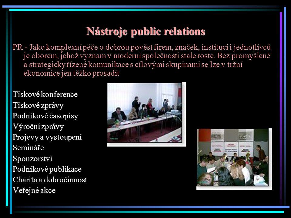 Nástroje public relations PR - Jako komplexní péče o dobrou pověst firem, značek, institucí i jednotlivců je oborem, jehož význam v moderní společnosti stále roste.