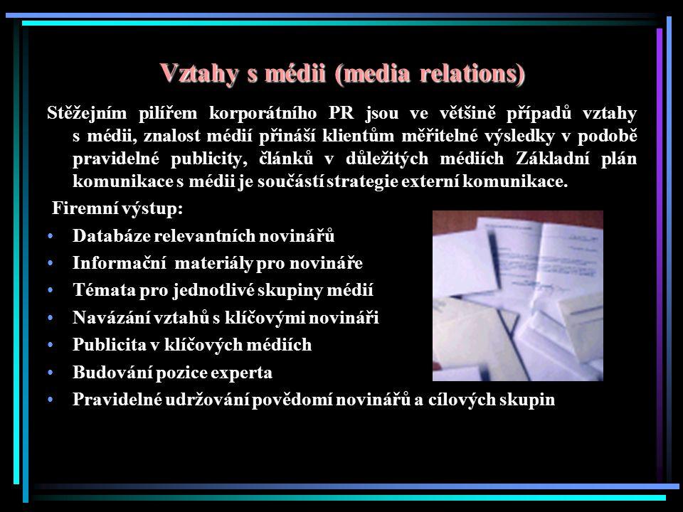 Vztahy s médii (media relations) Stěžejním pilířem korporátního PR jsou ve většině případů vztahy s médii, znalost médií přináší klientům měřitelné výsledky v podobě pravidelné publicity, článků v důležitých médiích Základní plán komunikace s médii je součástí strategie externí komunikace.