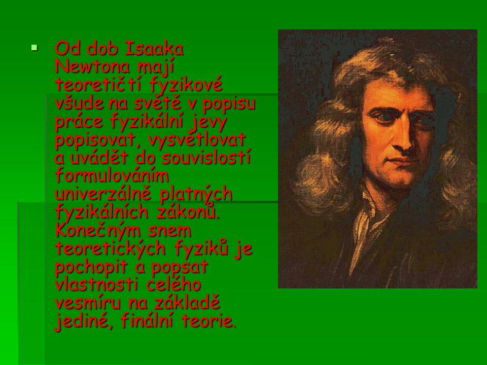  Od dob Isaaka Newtona mají teoretičtí fyzikové všude na světě v popisu práce fyzikální jevy popisovat, vysvětlovat a uvádět do souvislostí formulováním univerzálně platných fyzikálních zákonů.