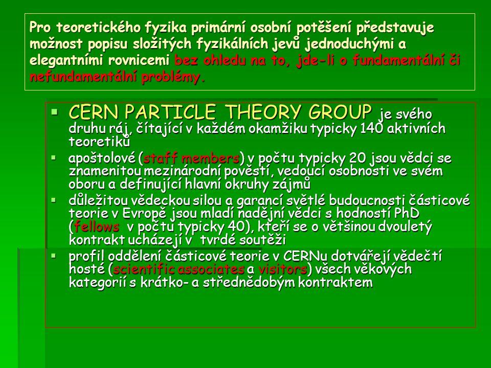 Pro teoretického fyzika primární osobní potěšení představuje možnost popisu složitých fyzikálních jevů jednoduchými a elegantními rovnicemi bez ohledu na to, jde-li o fundamentální či nefundamentální problémy.