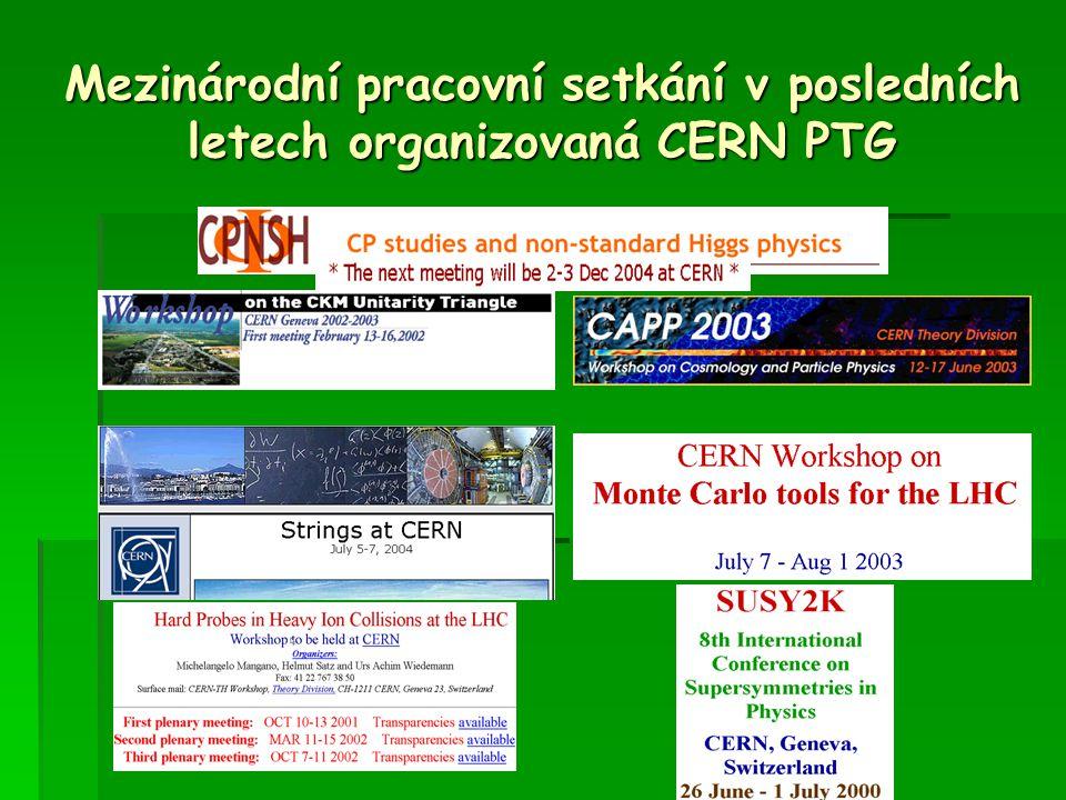 Mezinárodní pracovní setkání v posledních letech organizovaná CERN PTG