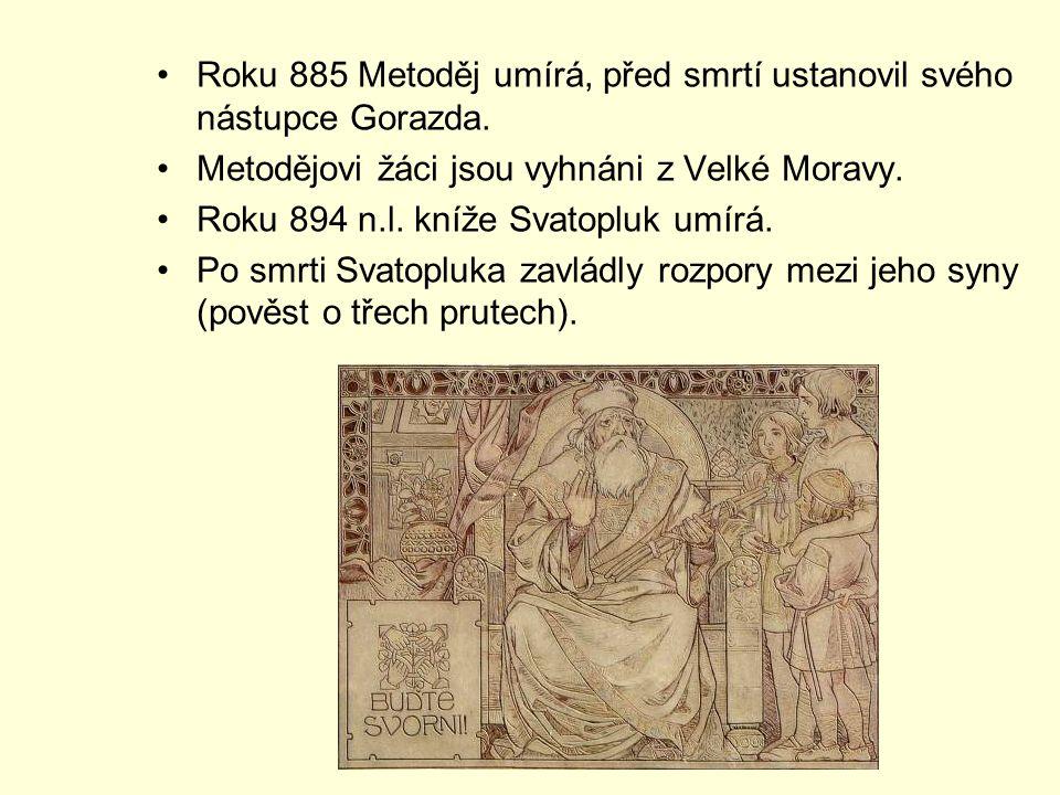 Roku 885 Metoděj umírá, před smrtí ustanovil svého nástupce Gorazda.