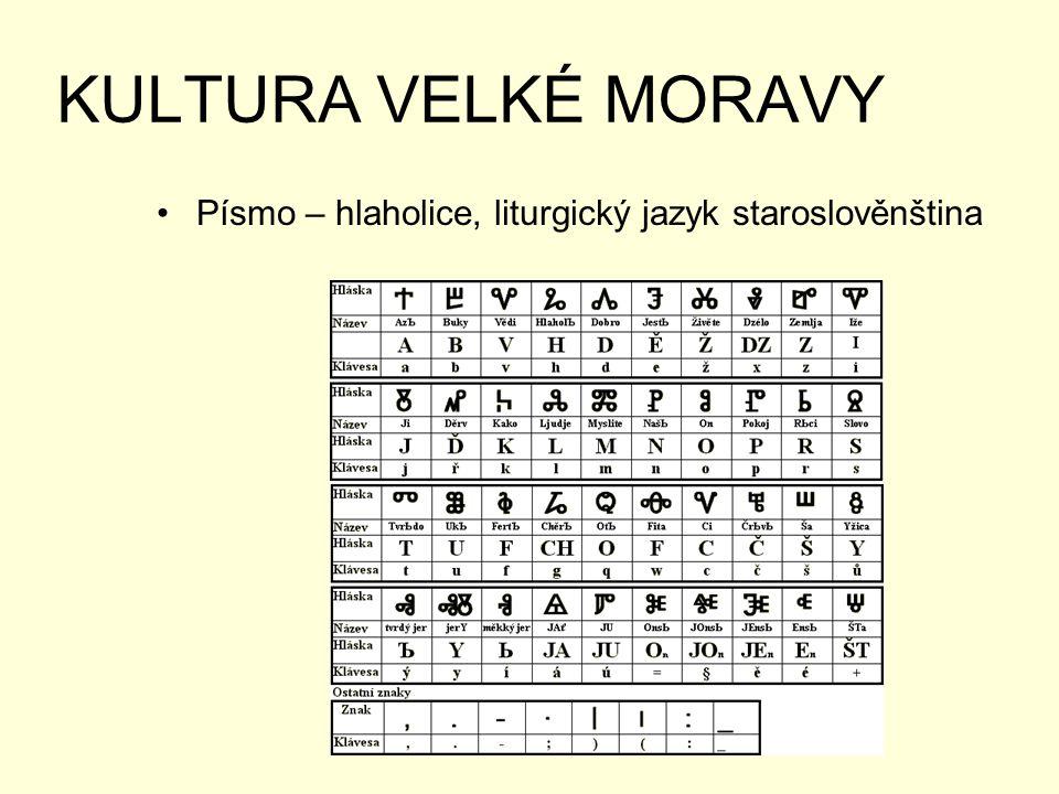 KULTURA VELKÉ MORAVY Písmo – hlaholice, liturgický jazyk staroslověnština