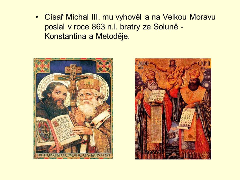 Císař Michal III.mu vyhověl a na Velkou Moravu poslal v roce 863 n.l.
